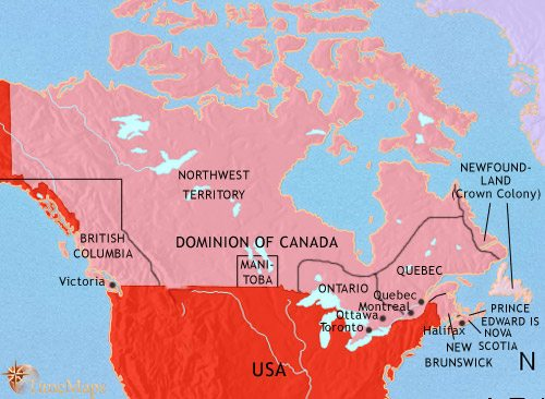 Map of Canada at 1871AD