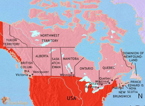Map of Canada at 1914AD