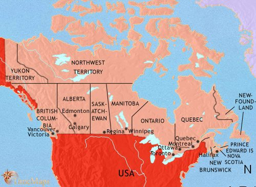Map of Canada at 1960AD