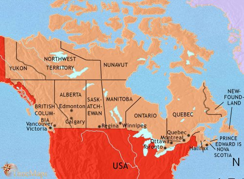 Map of Canada at 2005AD