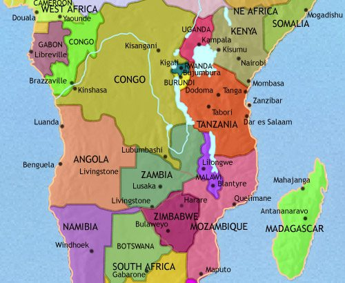 Map of Central Africa at 2005AD