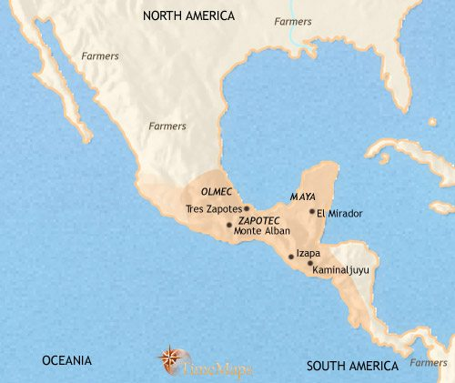 Map of Mexico and Central America at 200BCE