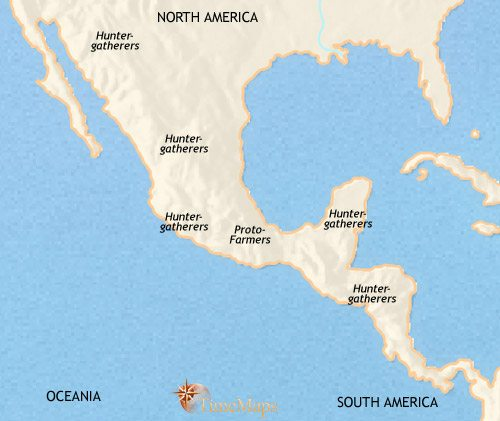 Map of Mexico and Central America at 3500BCE