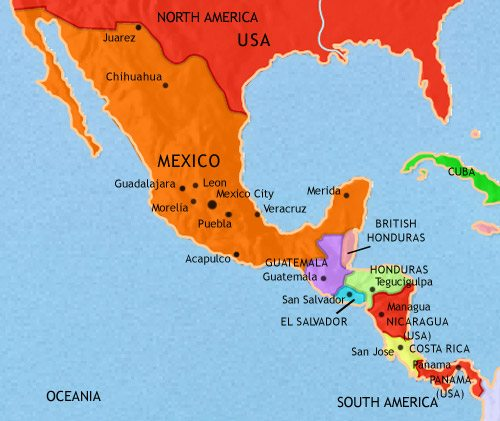 Map of Mexico and Central America at 1914CE