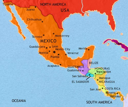 Map of Mexico and Central America at 2005CE