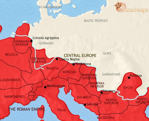 Map of Central Europe at 200AD