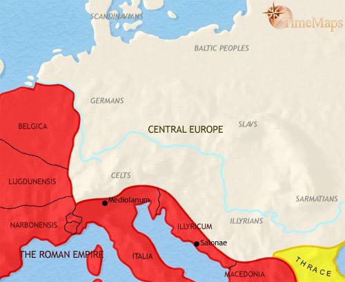 Map of Central Europe at 30BC