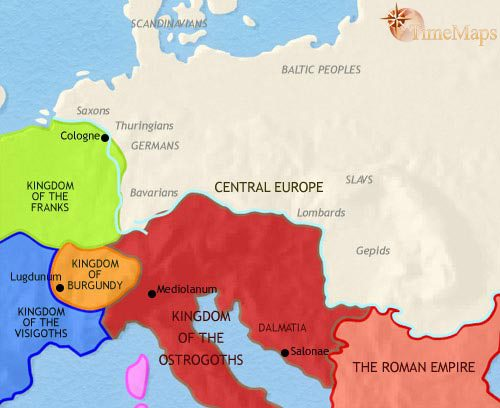 Map of Central Europe at 500CE