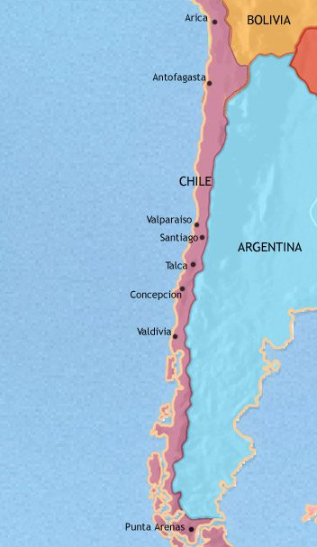 Map of Chile at 2005AD