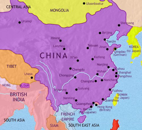 Map of China at 1914AD