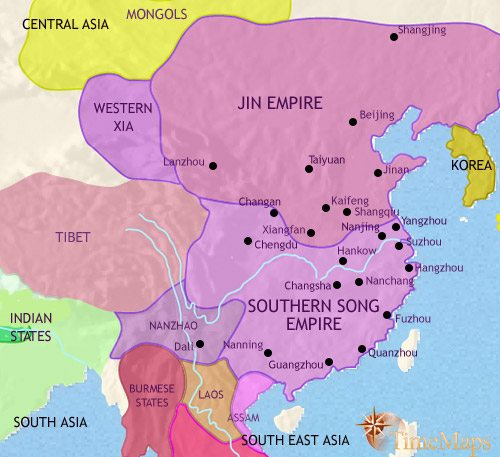 Map of China at 1215AD