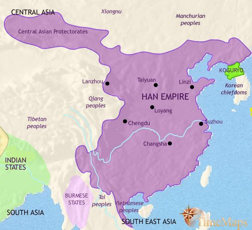 Map of China at 200AD