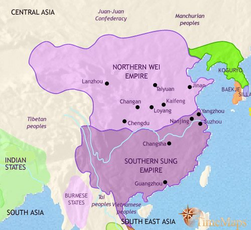 Map of China at 500AD
