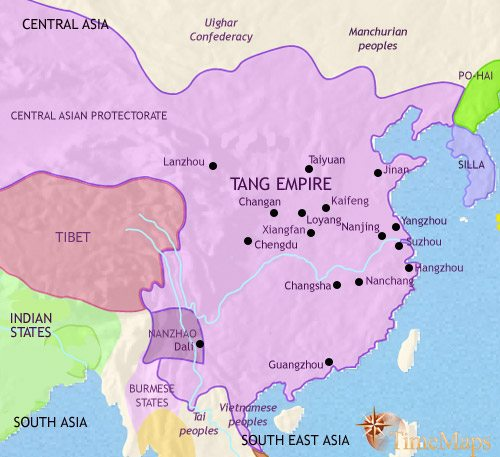 Map of China at 750AD