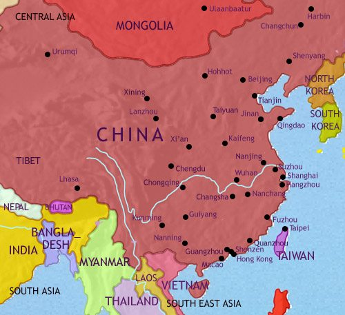 Map of China at 2005AD
