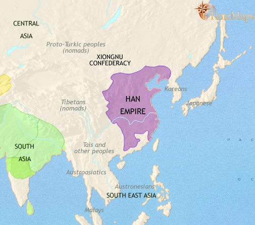 Map of East Asia: China, Korea, Japan at 200BCE