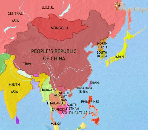 Map of East Asia: China, Korea, Japan at 1960CE