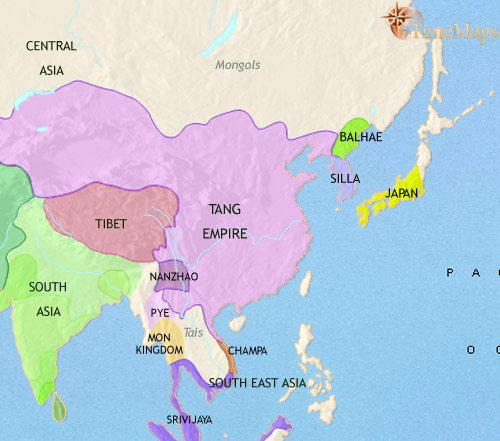 Map of East Asia: China, Korea, Japan at 750CE