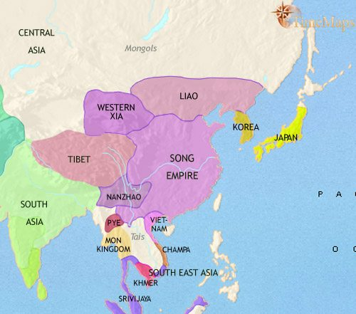 Map of East Asia: China, Korea, Japan at 979CE
