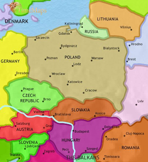 Map of East Central Europe at 2005CE
