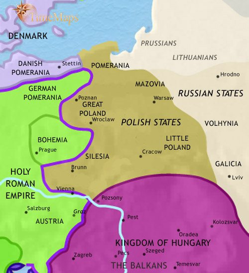 Map of East Central Europe at 1215CE