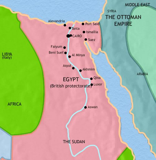 Map of Egypt at 1914AD