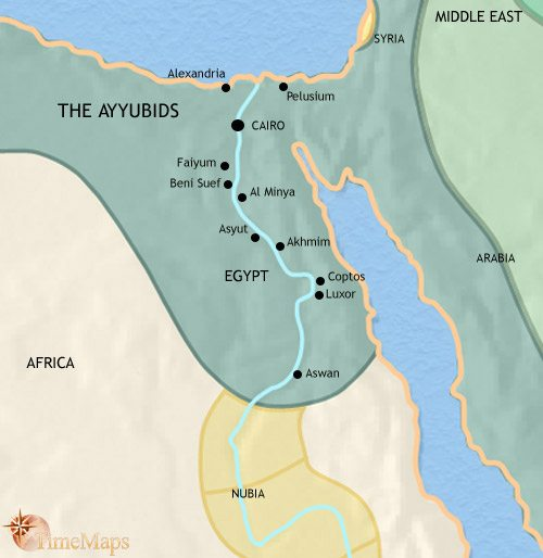 Map of Egypt at 1215AD