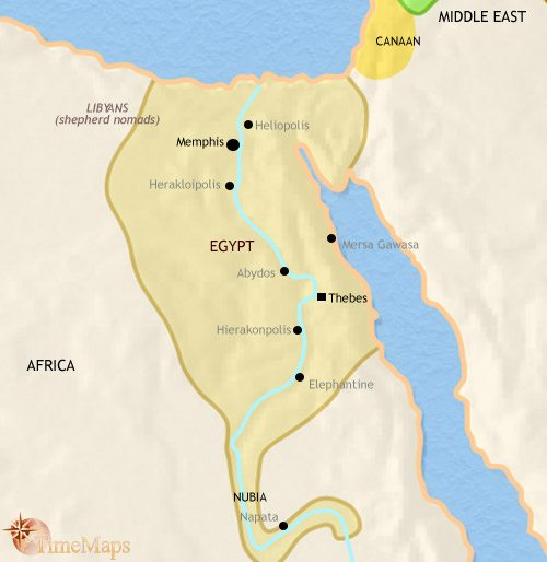 Map of Egypt at 1500BC