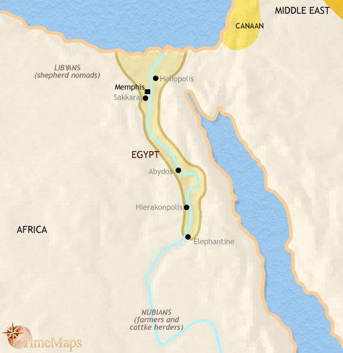 Map of Egypt at 2500BC