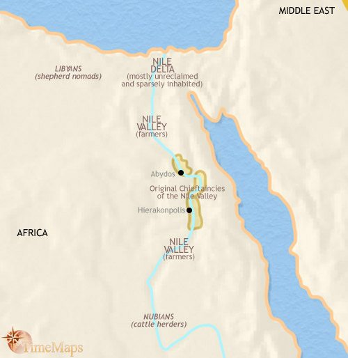Map of Egypt at 3500BC