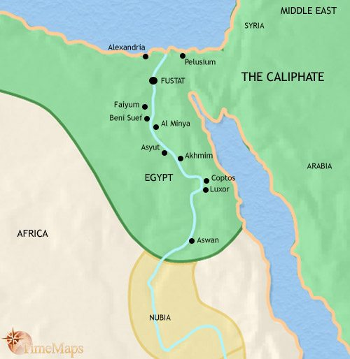 Map of Egypt at 750AD
