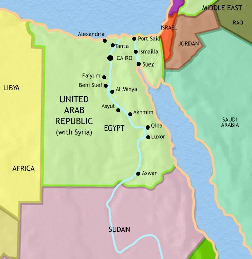 Map of Egypt at 1960AD