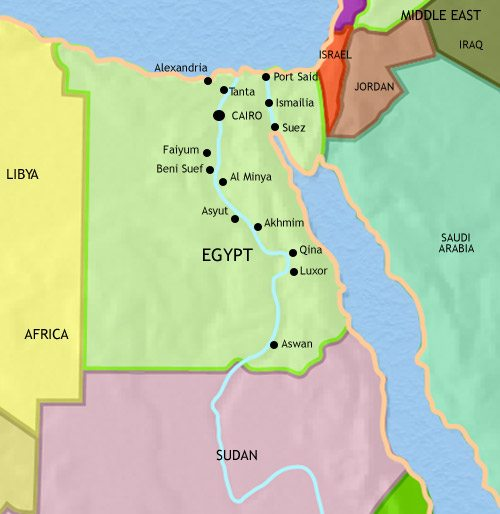 Map of Egypt at 2005AD