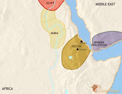 Map of Ethiopia at 500AD