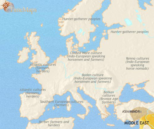 Map of Europe at 2500BCE