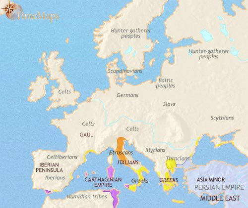 Map of Europe at 500BCE