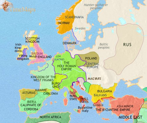 Map of Europe at 979CE