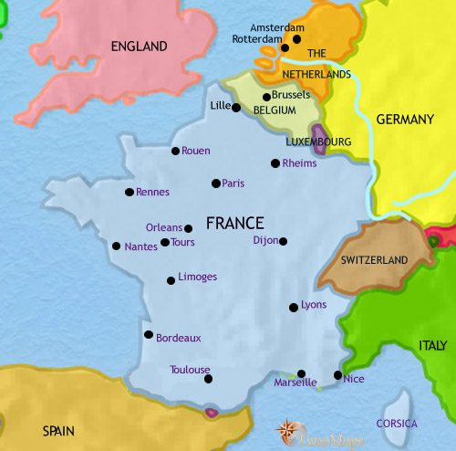 Map of France at 2005CE