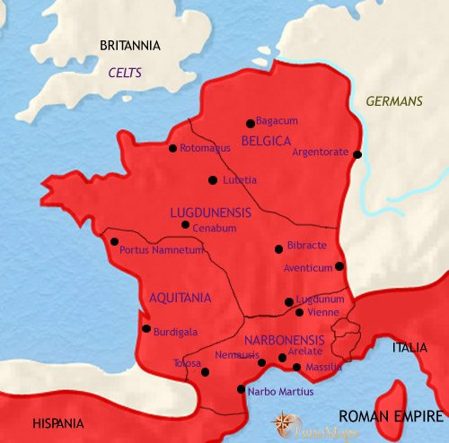 Map of France at 30BCE