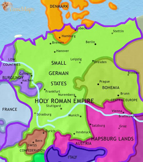 Map of Germany at 1453AD