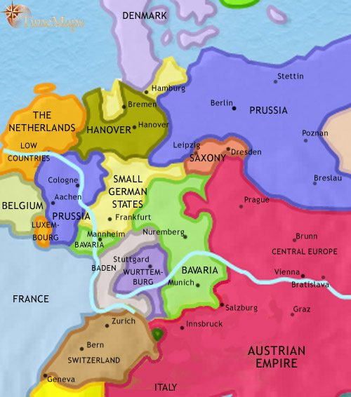 Map of Germany at 1837AD