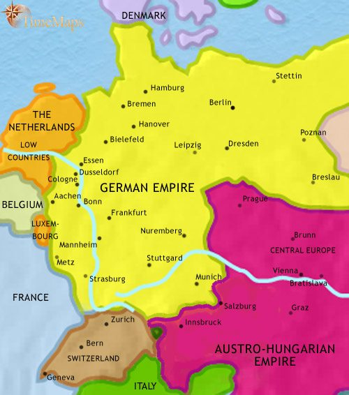Map of Germany at 1871AD