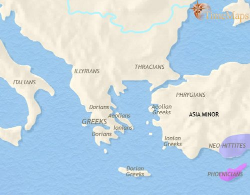 Map of Greece and the Balkans at 1000BC