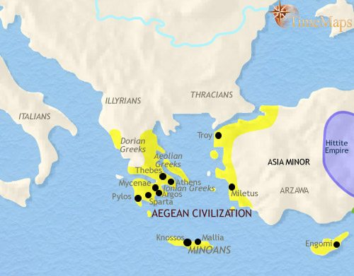 Map of Greece and the Balkans at 1500BCE