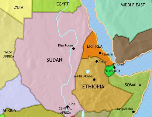 Map of North East Africa at 2005AD