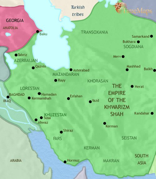Map of Iran at 1215CE