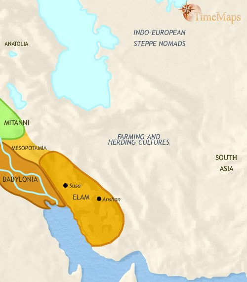 Map of Iran at 1500BCE