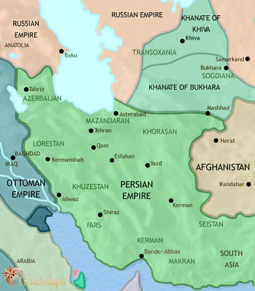 Map of Iran at 1871CE