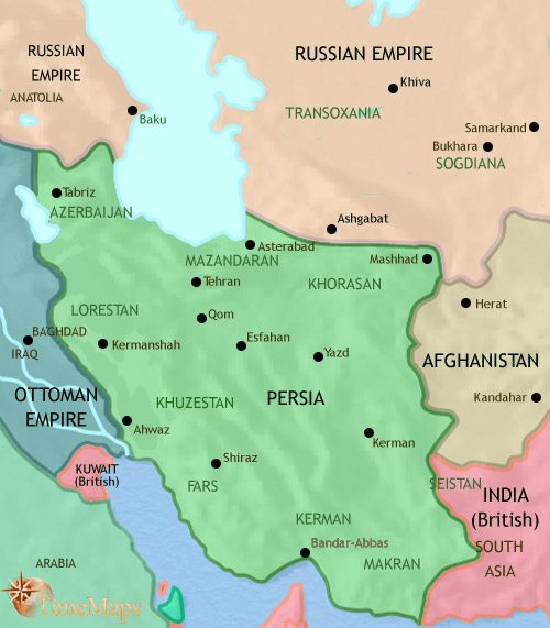 Map of Iran at 1914CE