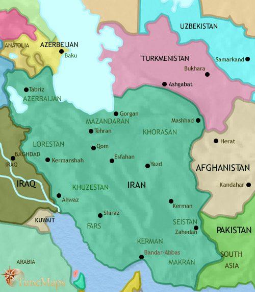Map of Iran at 2005CE